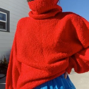 Vintage Sweaters - Vintage red balloon sleeve slouchy acrylic sweater